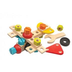 Mekaniskt byggset i trä - 40 delar